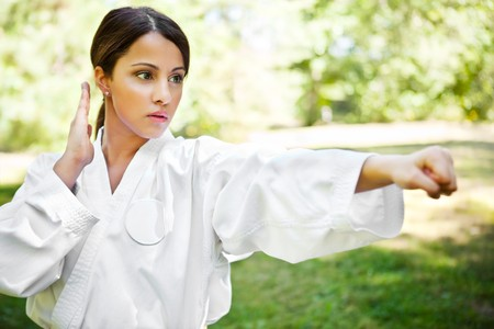 arte marcial: Un disparo de una mujer asi�tica practicando karate