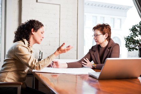 small office: A shot of two businesswomen working in the office Stock Photo