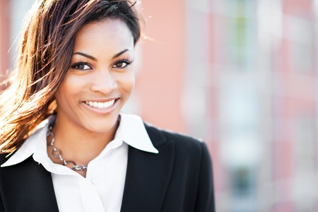 A shot of a beautiful black businesswoman outdoor photo