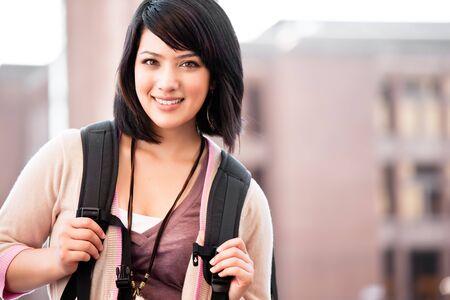 Een portret van een gemengd ras college studenten op de campus  Stockfoto - 7773597
