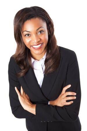 Een geïsoleerde shot van een gelukkig zwarte zaken vrouw  Stockfoto