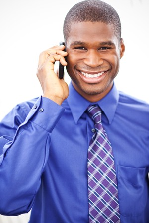 A shot of a black businessman on the phone Stock Photo - 7893664
