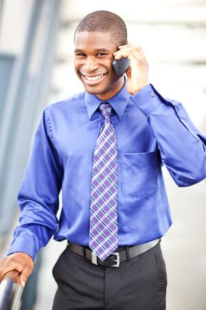 A shot of a black businessman on the phone Stock Photo - 7893663