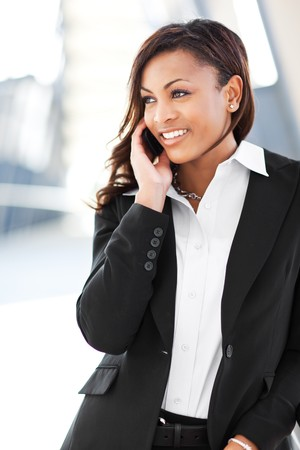 A shot of a beautiful black businesswoman on the phone photo