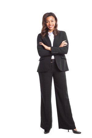 An isolated shot of a happy black businesswoman photo