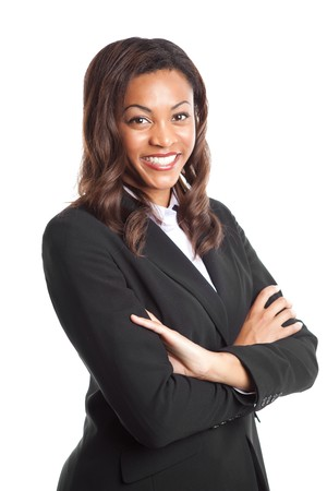 african american businesswoman: An isolated shot of a happy black businesswoman