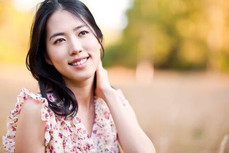 korean fashion: A portrait of a beautiful asian woman outdoor