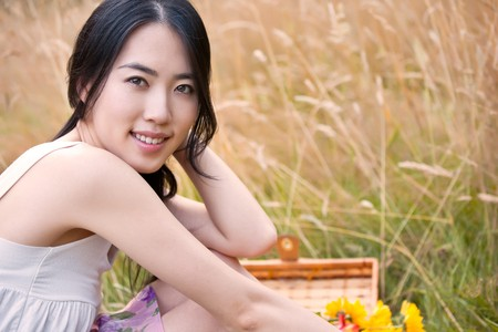 A portrait of a beautiful asian woman outdoor photo
