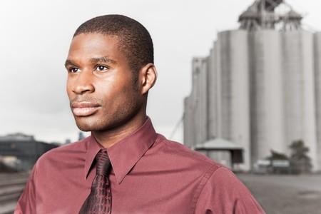 A portrait of a black businessman outdoor photo