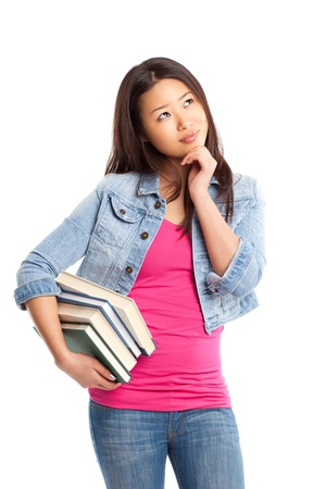 thinking woman: An isolated shot of a beautiful asian college student Stock Photo