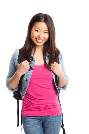 Een geïsoleerde shot van een mooie Aziatische college student Stockfoto - 8548717