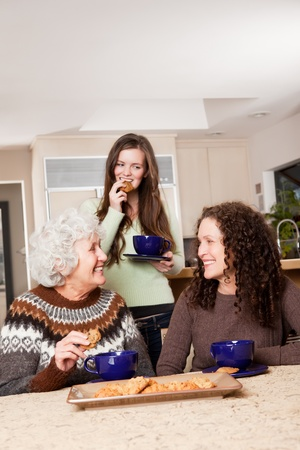 A portrait of a senior lady at home with her daughter and granddaughter photo