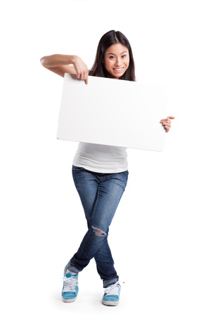 An isolated shot of a beautiful asian woman holding a blank poster photo
