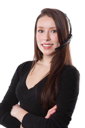 A shot of a beautiful caucasian businesswoman wearing a phone headset Stock Photo - 9075783