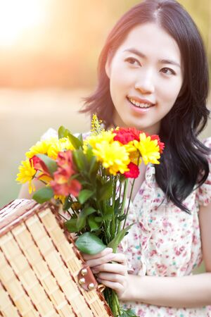 korean fashion: A portrait of a beautiful asian woman outdoor