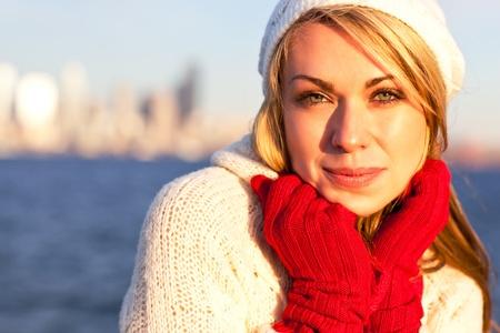 A shot of a beautiful caucasian winter woman outdoor photo