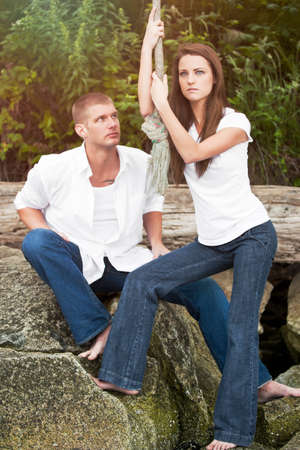 A portrait of a beautiful Caucasian couple photo