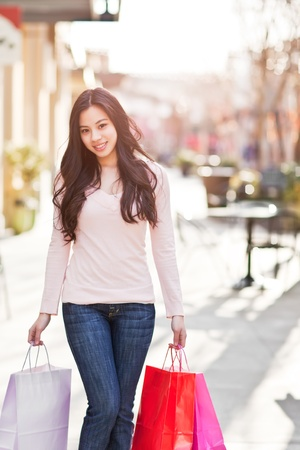 A shot of an asian woman shopping outdoor photo