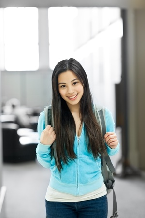 A portrait of an Asian college student in the library Stock Photo - 9748040