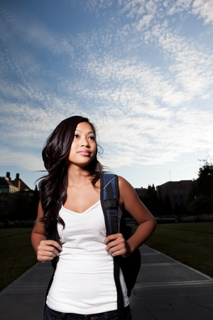 A portrait of an Asian college student at campus photo
