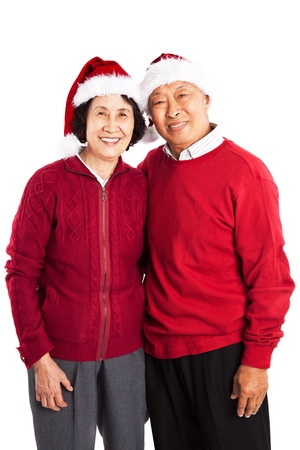 couple winter: A shot of senior Asian couple celebrating Christmas