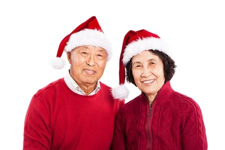 크리스마스를 축하 수석 아시아 부부의 총