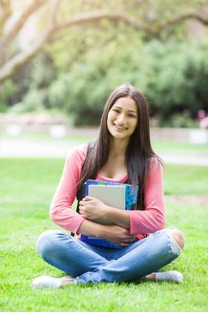 A portrait of a hispanic college student at campus 版權商用圖片