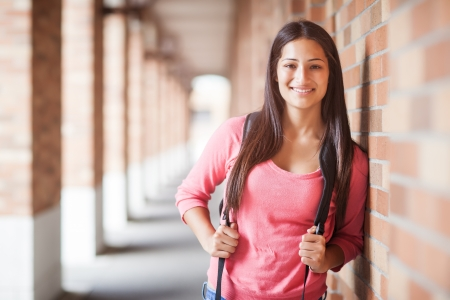 college student: A portrait of a hispanic college student at campus Stock Photo