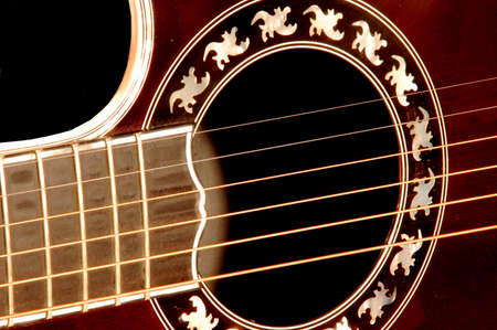 fret: Red guitar corpus with strings and fret
