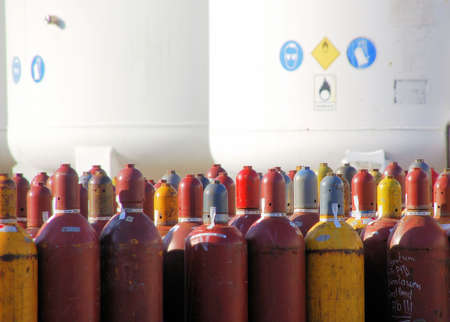 Acetylen bottles and nitrogen silo with emergency sign