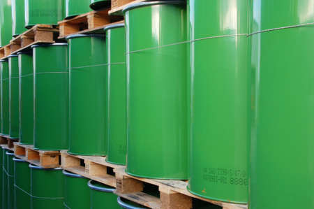 gasoil: Assembly of green oil drums on palettes Stock Photo