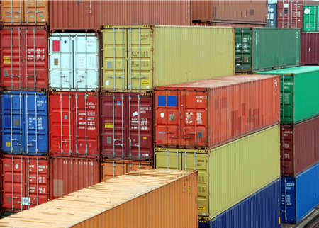 Assembly of cargo container waithing for transportation in a harbor Stock Photo - 2406495
