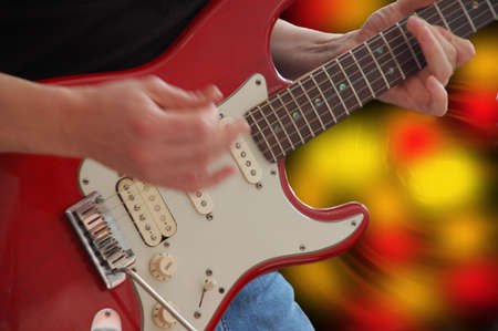 audition: Gitara elektryczna z gryźć i palce podczas żywych audition Zdjęcie Seryjne
