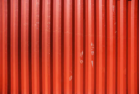 profiled: Red profiled metal wall of a cargo container Stock Photo