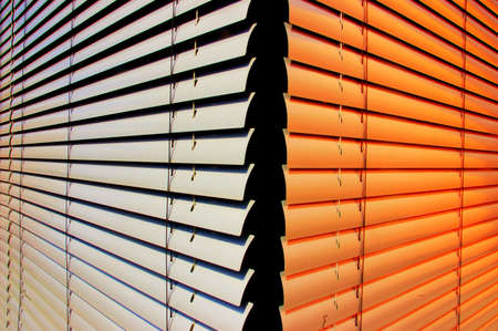 Closeup of two shutters at an office building Stock Photo