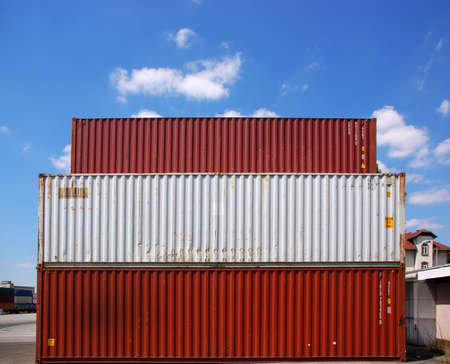Red and  white cargo container Stock Photo - 3397773