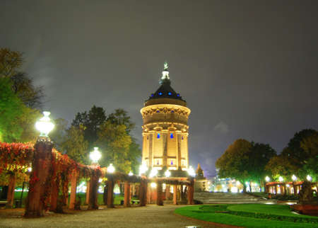 Nightscene with water tower in Mannheim Germany Banco de Imagens