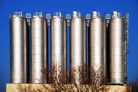 Silos in a chemical industrial plant Stock Photo