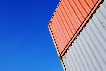 stapled: Stapled cargo container and a blue sky