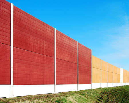 Noise barrier wall on a highway in Germany Stock Photo