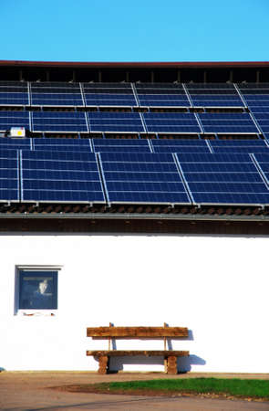 Solar energy panels on the roof of a barn Stock Photo - 4545453