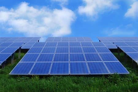 Field of solar energy panels photo