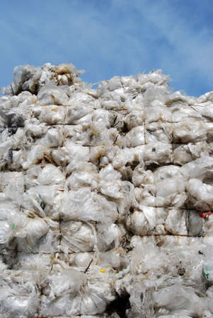 scrap trade: Plastic sacks on a recyling site Stock Photo