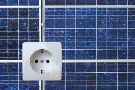 Solar energy panel with a electric socket Stock Photo - 4875745