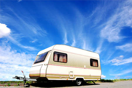motor home: Vinatge caravan on a street  Stock Photo