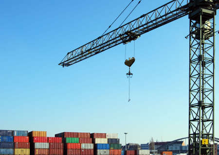 Cargo container and crane in a harbour Stock Photo - 5335089