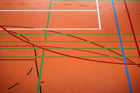 Lines and colours on the floor of a sports hall Stock Photo