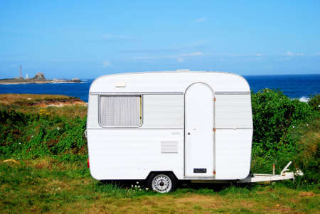 Camp mobile on a site in Brittany in France photo