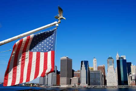American flag and eagle with Manahttan skyline