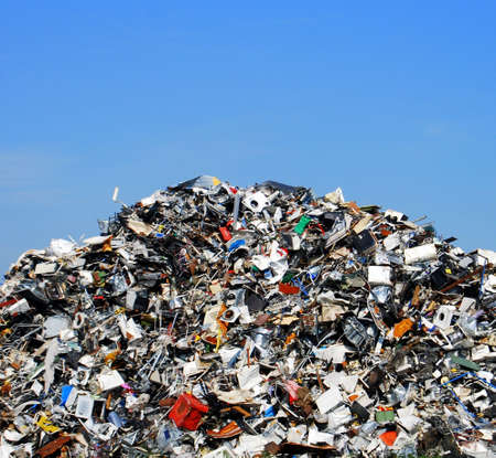 scrap heap: Pile of metallic waste on a recycling site